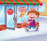 Kid In A Trance Following Smell of Pizza. Cartoon illustration of a kid in a trance that is following the smell of pizza coming out of a pizza restaurant Royalty Free Stock Photo