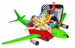 Kid Travel in Suitcase Airplane, Child Flying Luggage Plane Royalty Free Stock Photos