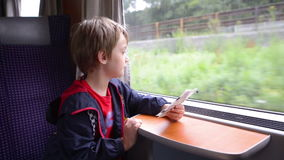 Kid Traveling by Train stock footage