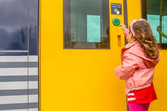 Kid travelling by train Stock Photo