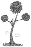 Kid in the tree  illustration. Black and white Stock Image