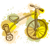 Kid tricycle. Retro-styled kid tricycle, grunge  illustration Royalty Free Stock Image