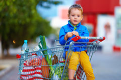 Kid in trolley after shopping. Kid in trolley full of food after shopping Stock Image