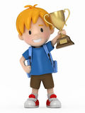 Kid with Trophy. 3D Render of Kid with Trophy Royalty Free Stock Photography