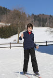 Kid try cross-country skiing Royalty Free Stock Images