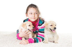Kid and two labrador puppy Stock Images