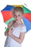 Kid with umbrella. With white background; shot in studio Royalty Free Stock Images