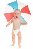The kid with an umbrella on his head. The kid with an umbrella on his head on a white background Stock Images