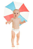 The kid with an umbrella on his head. The kid with an umbrella on his head on a white background Royalty Free Stock Images