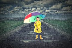 Kid with umbrella Royalty Free Stock Photos