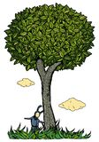 Kid under the tree. Illustration. Color Royalty Free Stock Photos