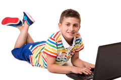 Kid using a computer Royalty Free Stock Photo