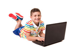 Kid using a computer Stock Images
