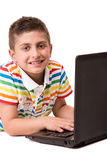 Kid using a computer Stock Photography
