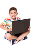 Kid using a computer Stock Image