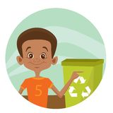 Kid using recycling bin Royalty Free Stock Photo