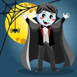 Kid vampire halloween costume full moon Royalty Free Stock Photo
