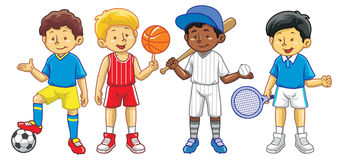 Kid in various sport activity Stock Photography