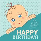 Kid. Vector illustration. The blue-eyed child. Vector illustration. Greeting card Stock Photography