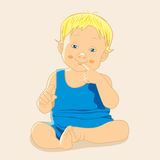Kid. Vector illustration. The kid in the blue shirts funny. Vector illustration. Greeting card Royalty Free Stock Image