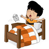 Kid wake up in the morning. Vector and illustration stock illustration