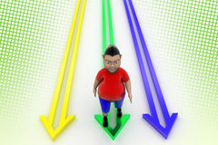 Kid Walking In Arrow Graph In Halftone Background Stock Photography