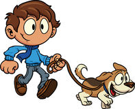 Kid walking dog. Vector clip art illustration. All in a single layer Stock Photography