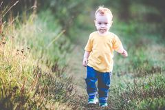Kid walking in nature alone stock photo
