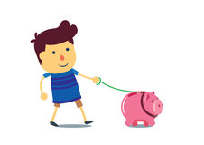 Kid walking the piggy bank pet Stock Photography