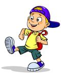 Kid walks with school bag. A  illustration of walking smiling kid with school bag Royalty Free Stock Image