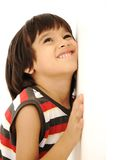 Kid on wall, smile. On face Royalty Free Stock Images