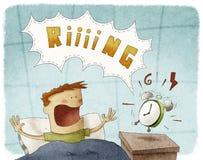 Kid was awakened by loud alarm clock. Illustration of kid was awakened by loud alarm clock Stock Photography