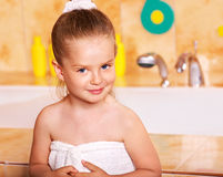 Kid washing in bath. Royalty Free Stock Photography