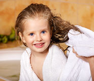 Kid washing in bath. Royalty Free Stock Image