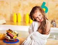 Kid washing in bath. Royalty Free Stock Photos