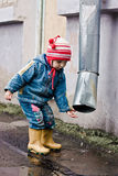 Kid washing hands under a water pipe. Royalty Free Stock Images