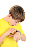 Kid with the Watch Royalty Free Stock Photo