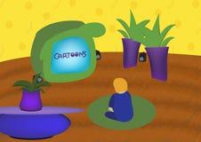 Kid watching cartoons Stock Photo