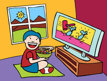 Kid watching TV. Cartoon of child watching television Royalty Free Stock Photography