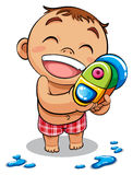 Kid and water gun Stock Images
