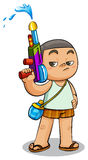 Kid and water gun Royalty Free Stock Photography