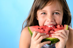 Kid with watermelon Stock Photo