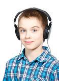 Kid wearing headphones Stock Photography