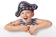 Kid wearing in pirate costume. On white the kid wearing in pirate costume stock image