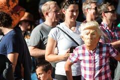 Kid Wears Donald Trump Mask At Popular Atlanta Halloween Parade. Atlanta, GA, USA - October 21, 2017: A kid wears a Donald Trump mask at the Little Five Points royalty free stock images