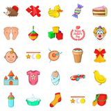 Kid welfare icons set, cartoon style. Kid welfare icons set. Cartoon set of 25 kid welfare vector icons for web isolated on white background Royalty Free Stock Photos