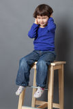 Kid wellbeing concept for thrilled preschool child Stock Photos