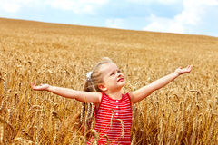 Kid in wheat field. Royalty Free Stock Images