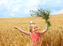 Kid in wheat field. Stock Images