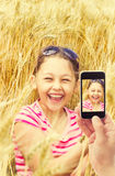 Kid in wheat Royalty Free Stock Images